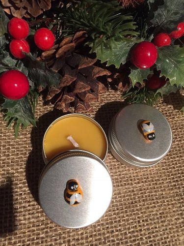 Mini Beeswax Candles -  Bee Tins